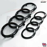 CARBON FIBRE GRILL & REAR BADGE EMBLEM RINGS Audi A3 S3 S4 S5 RS A4 quattro cgs