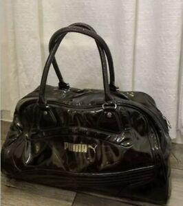 puma duffle bag Black Patent Leather Medium Gym Bag Women's