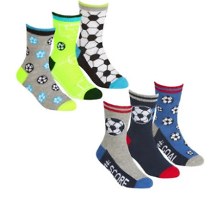 Boys 6 Pairs Cotton Rich Football  socks sz 6-8.5 9 -12 12-3 Age 2-10 years NEW!
