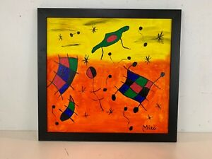 Vtg Modernist Painting Style of Smile of the Flamboyant Wings After Joan Miro