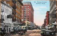Spokane, WA 1922 Postcard: Sprague Avenue / Downtown - Washington State