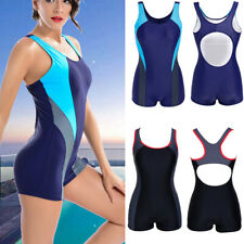 Women One Piece Push Up Swimsuit Boyleg Swimwear Sports Short Athletic Costume