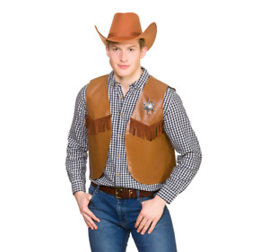 NEW Western Brown Cowboy Waistcoat Adults Wicked Costumes Fancy Dress