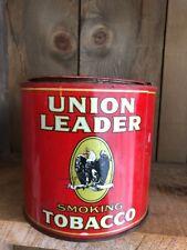 """Vintage Union Leader Tobacco Smoking Round Tin 5"""""""