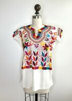 Vtg 70s Guatemalan Huipil Hippie Art Embroidered Mexican TOP SHIRT Boho