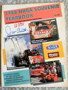 1988 NHRA SOUVENIR YEARBOOK - Autographed by ED HILL & JOE AMATO