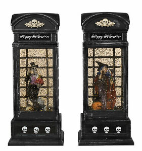 "9.8"" Lighted Vintage Phone Booth Spinning Water Globe Lanterns Halloween Set"