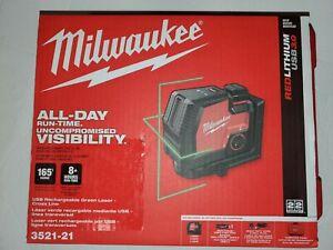 Milwaukee USB Rechargeable Green Cross Line Laser Red/Black 3521-21 NIB
