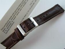 NEW Brown Leather Watch Band Strap Parts Fits SWATCH Irony Chronograph Size 17mm