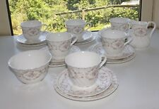 Wedgwood Bone China Ophelia Pattern 20 PC Teaset Cups Saucers Plates Milk Sugar