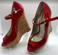 GUESS Women's Red Patent High Heel Cork Buckle Peep Toe Size 6.5