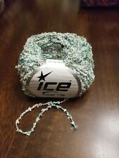 Yarn Boucle Green and White Cotton Mix - 50 gr 90 m 98 yards
