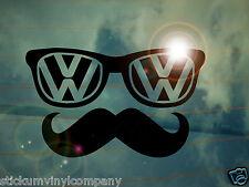 Vw Bigote Nerd coche calcomanía / etiqueta adhesiva * Dubs * Alemán * volkswagen * Vag * euro * Hipster *