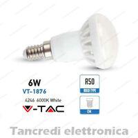 Lampadina led V-TAC 6W = 40W E14 bianco freddo 6000K VT-1876 R50 faretto bulbo