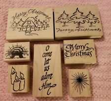 7 Denami Design Christmas Wood Mounted Rubber Stamps Good Condition RS7