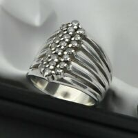 Large White Stone Multi Band Statement Ring in Solid 925 Silver  ~ Size P 1/2