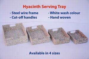 White Wash Hyacinth Woven Serving Tray Storage Bread Fruit Basket Gift Hamper