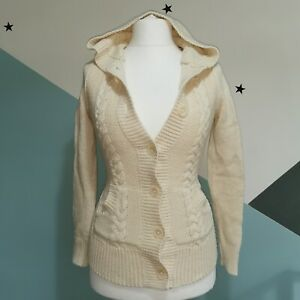 Tommy Hilfiger size uk 6-8 cardigan Womens Cream Cable Knit Cardigan Hoodie