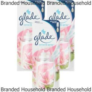 3 X GLADE SENSE AND SPRAY REFILLS AUTOMATIC AIR FRESHENER FLORAL BLOSSOM