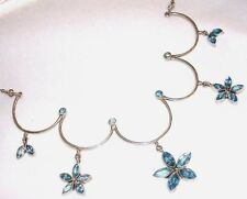 BLUE TOPAZ GEMSTONE STERLING SILVER FLORAL SCALLOP CHOKER NECKLACE NEW BEAUTY