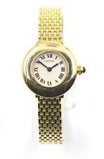 VINTAGE CARTIER LADIES DRESS WATCH BLUE HANDS ROMAN NUMERAL DIAL 18K YELLOW GOLD