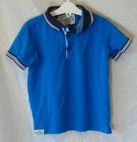 Boys M&S Blue Textured Collared Short Sleeve Polo Shirt T-Shirt Age 4-5 Years