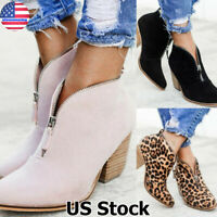 Womens Low Mid Block Heel Ankle Boots Ladies Chunky Casual Booties Shoes Size US