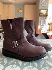 NEW Heavenly Feet Ladies Burgundy Brown Mid Calf Biker Winter Boots Wide Fit 8