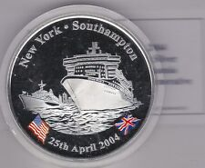 In scatola 5 Oncia 2004 Queen Mary NEW YORK Southampton ARGENTO PROOF MEDAGLIA