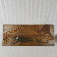 Vintage Relief Hand Carved Wood Panther Jungle Scene Wall Art Big Cat  27x11