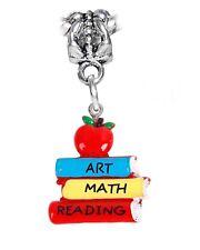 Books Art Math Reading Teacher School Resin Dangle Charm for European Bracelets