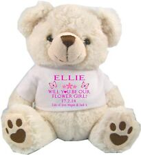 PERSONALISED WHITE TEDDY BEAR  WILL YOU BE OUR FLOWER GIRL BRIDESMAID WEDDING