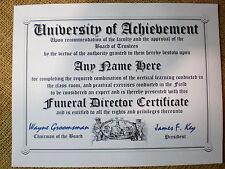 Funeral Director Diploma Mortician Man Certificate