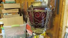 Antique Red Ruby Glass Oil Pull Down Hall Lamp
