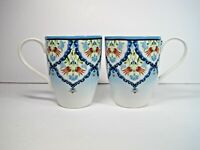 """Set of Two  222 FIFTH Porcelain Tunisia Blue Red Floral Mugs 4.5"""" Tall"""