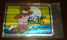 Older Vending Machine Prism Sticker - Bear at the Beach - Teddy on Surfboard