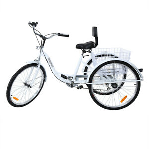 """26"""" 7 Speed Adult Tricycle 3-Wheel Trike Cruiser Bicycle w/Basket for Shopping"""