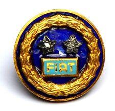 Distintivo FIAT 925 In Argento 925 Due Stelle Con Brillantini Chiusura A Rond