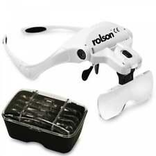 Rolson LED Magnifying Visor 2 LED Directional Light & 5 Lenses Loupe Magnifier