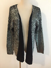 ALBERTO MAKALI Open Drape Cardigan Sweater Topper Black Silver Metallic Sz S NWT