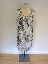 FENN WRIGHT MANSON BEIGE & WHITE PRINT COTTON DRESS SIZE 14