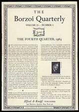 Borzoi Quarterly Volume 13 Number 4 Fourth Quarter 1964 / First Edition