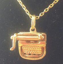 Vintage 1970s Miniature 14k Solid Gold 3D Typewriter Charm / Pendant
