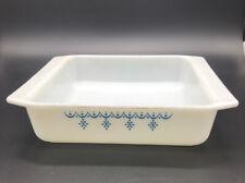 Vintage Pyrex Snowflake Garland 922 Square Brownie Pan Glass Bakeware