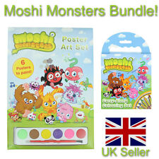 moshi monster poster art set + carry along colouring set kids rainy day
