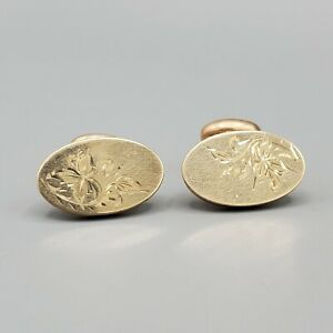 Antique Yellow Gold Filled Oval Etched Bean Back Cufflinks