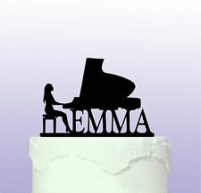 Personalised Female Piano Playing - Pianist Acrylic Acrylic Cake Topper