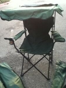 Canopy Camping Chair Green Beach Lawn Sun Awning Folding Carry Case Cup Holder
