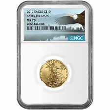 2017 Gold American Eagle 1/4oz ($10) MS70 ER NGC Bald Eagle Label