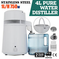 4L 750W WATER DISTILLER FILTERS STAINLESS STEEL DISTILLED PURIFIED HOME DENTAL